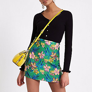Green floral jacquard mini skirt