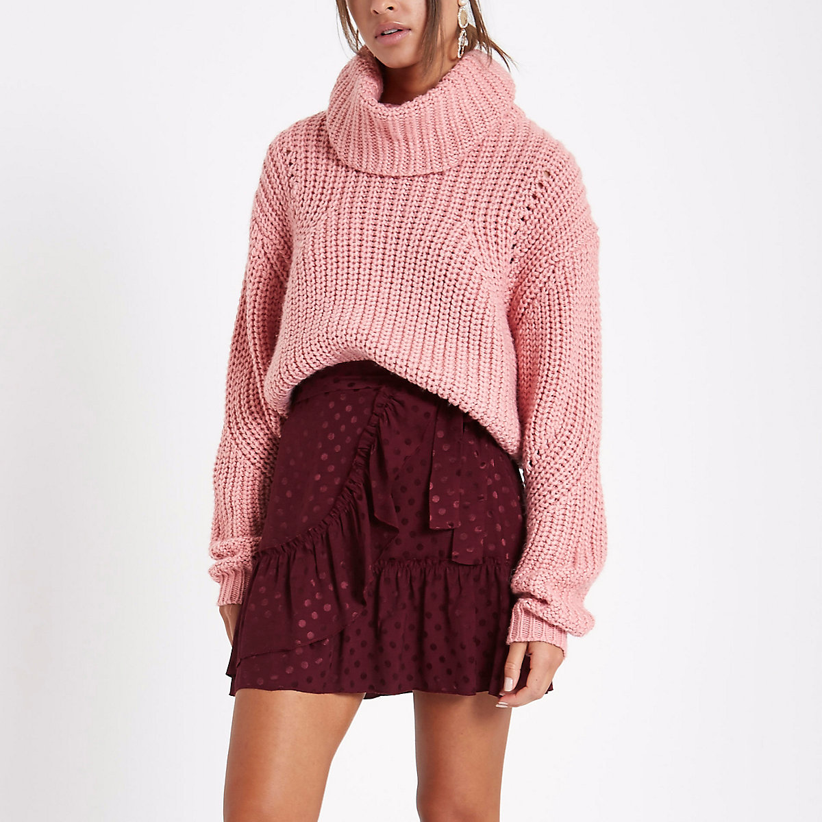 Dark red spot jacquard frill wrap mini skirt