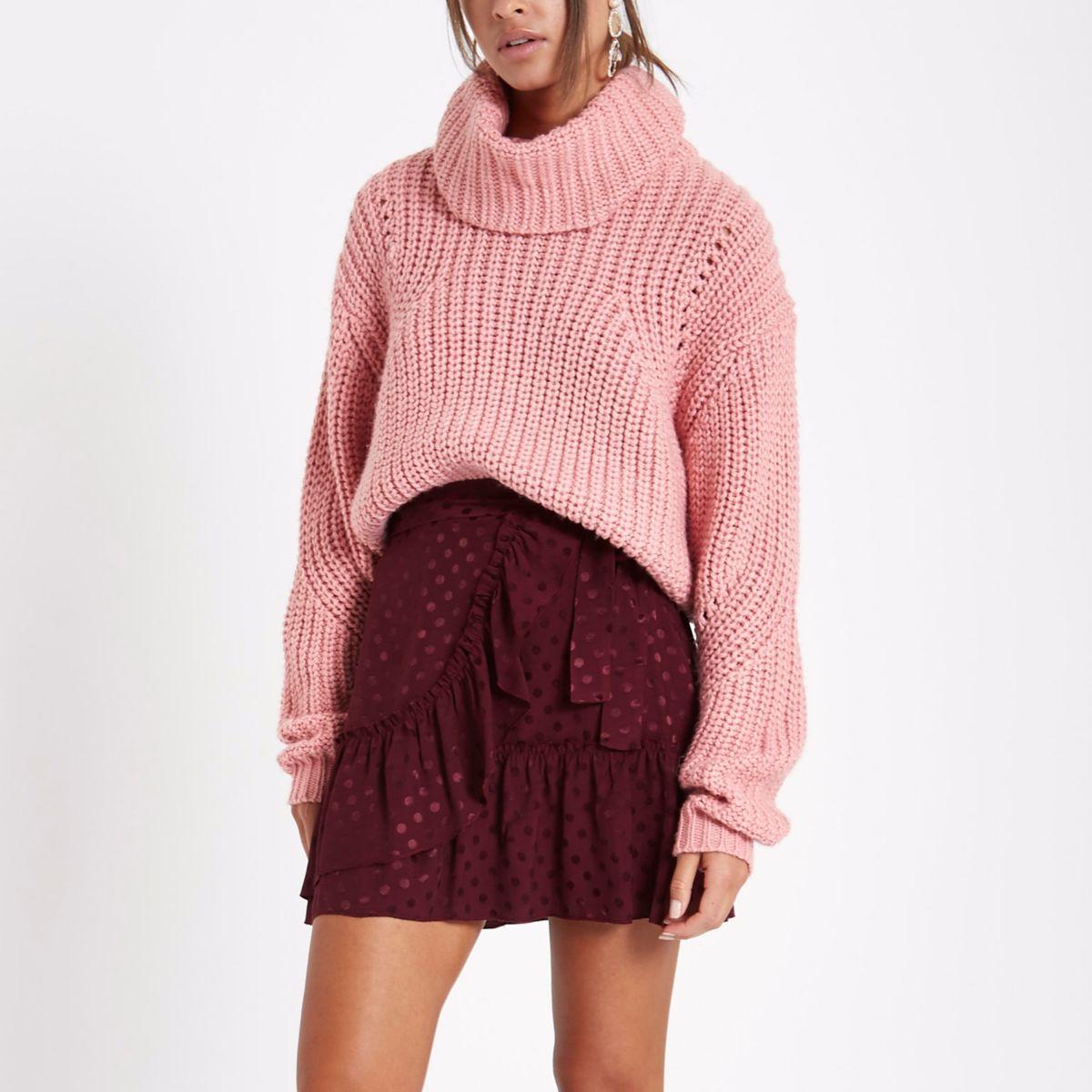 Dark red spot jacquard frill wrap mini skirt
