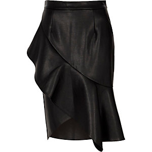 Black faux leather frill front pencil skirt