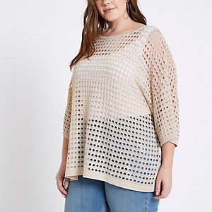 Plus gold open stitch metallic top