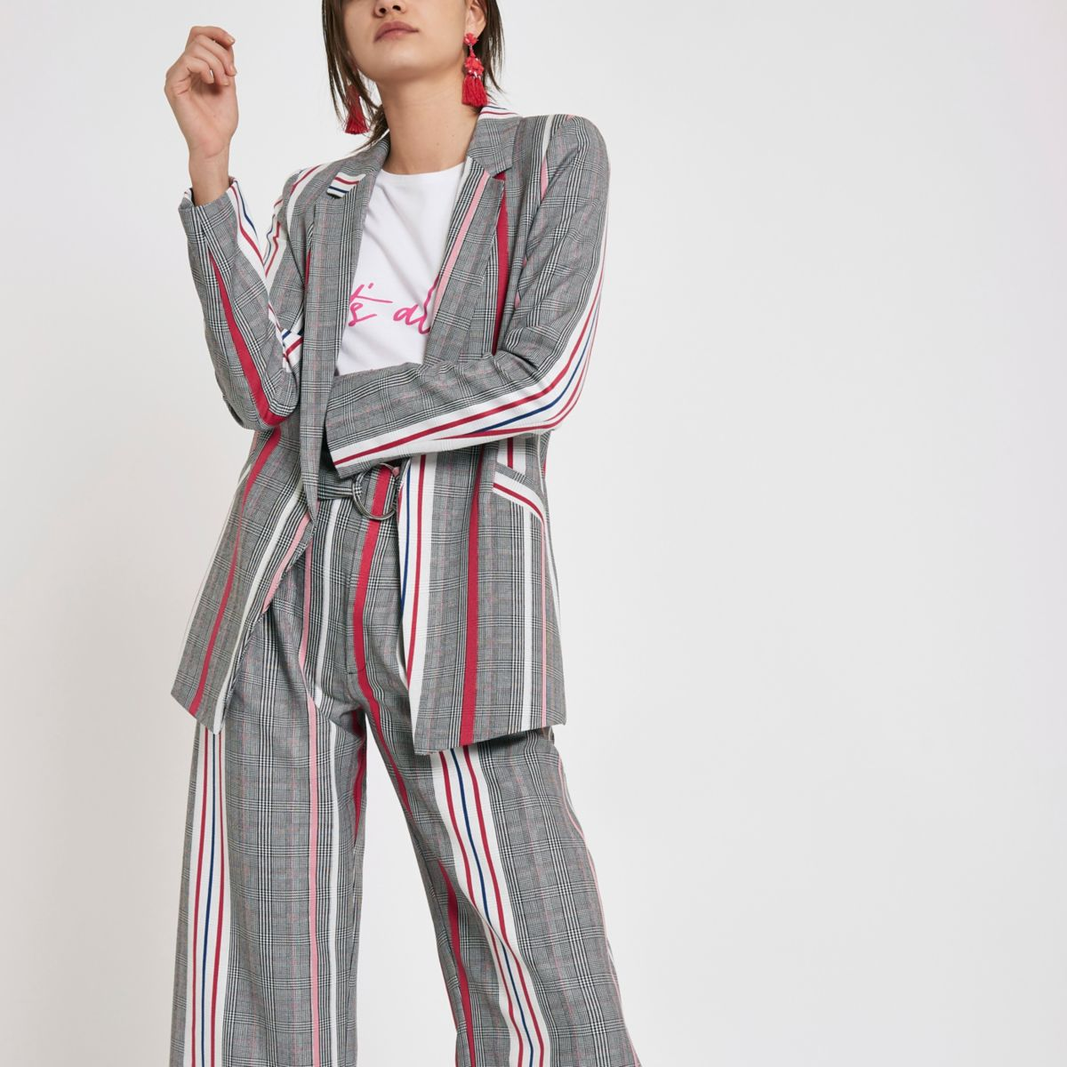 Pink check stripe blazer