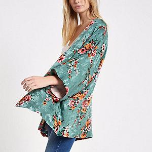 Turquoise cropped kimono met bloemenprint