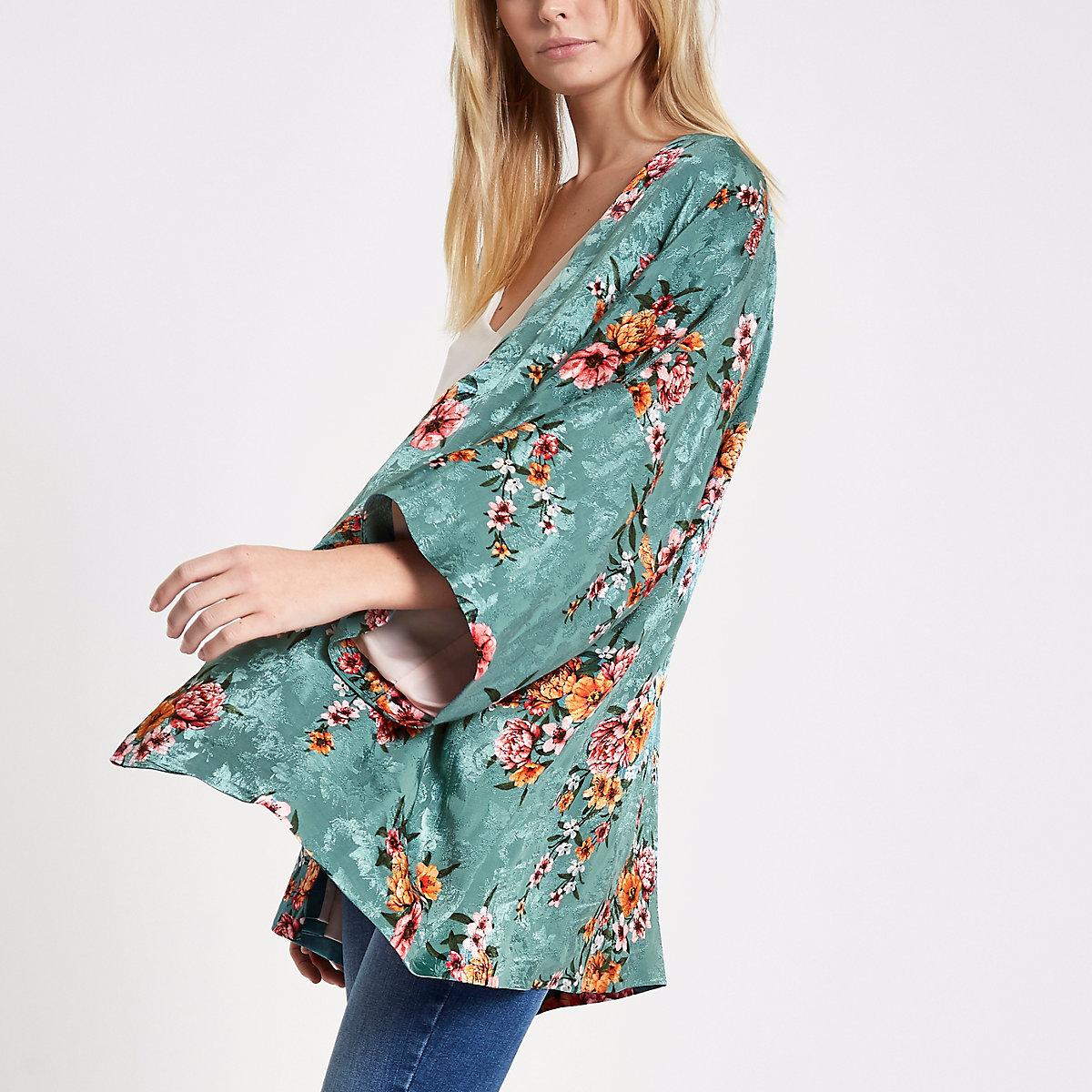 Turquoise floral print cropped kimono