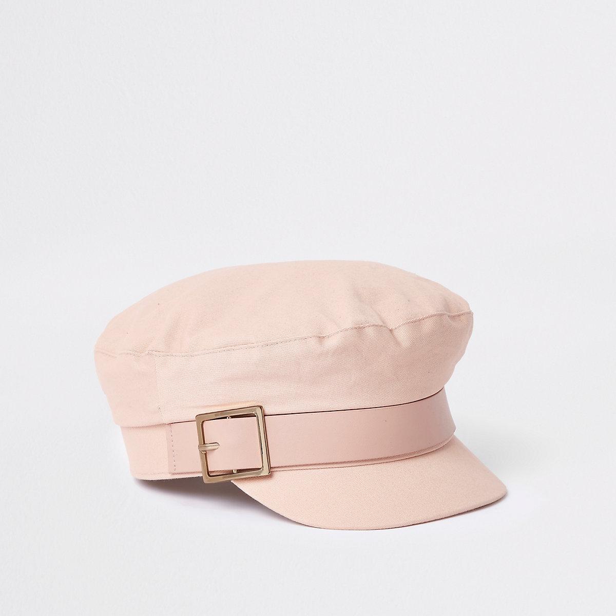 Beige pink buckle baker boy hat