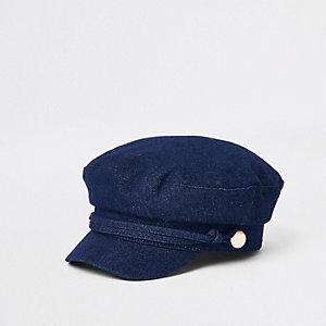 Dark blue denim baker boy hat