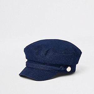 Casquette style gavroche en jean bleu foncé