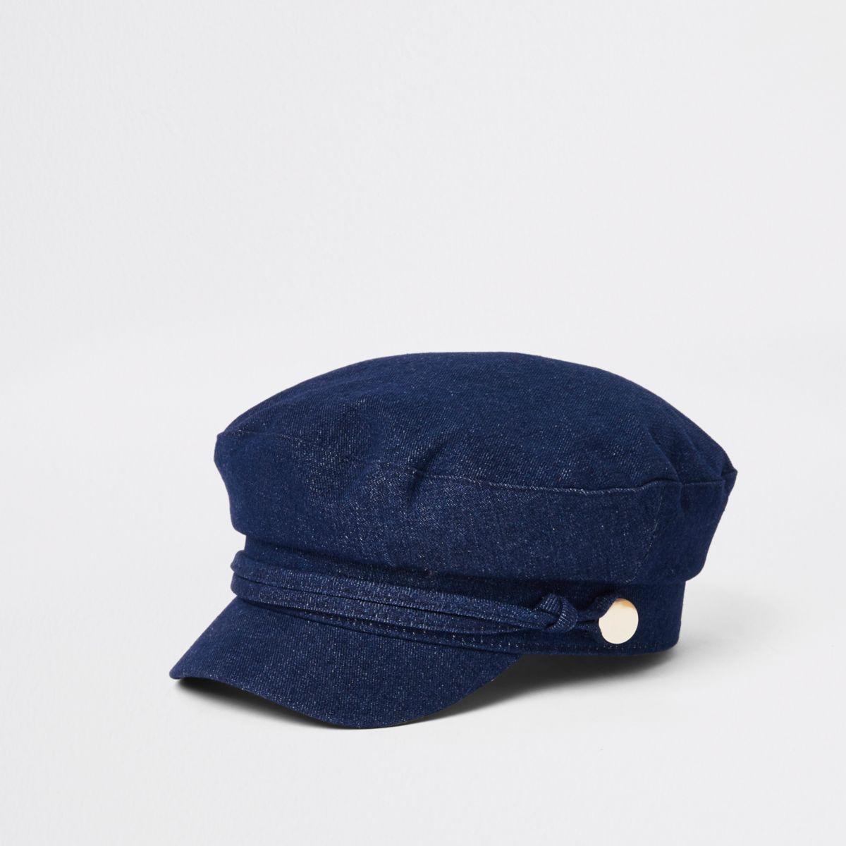 Dark blue denim baker boy hat