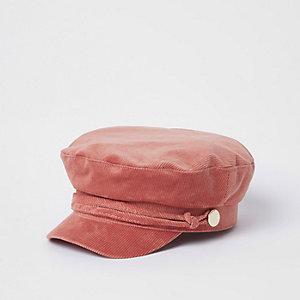 Pink cord baker boy hat