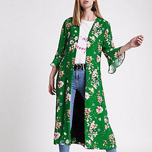 Green floral tie waist duster coat