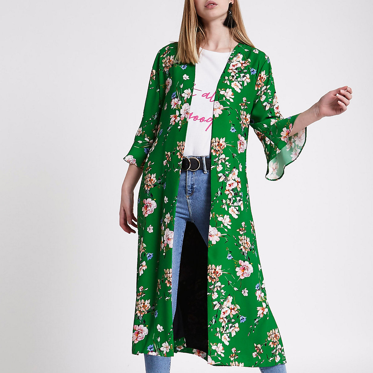 Green floral tie waist duster coat