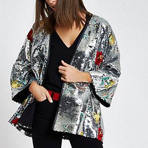 Zilverkleurige verfraaide kimono met bloemenprint en pailletten
