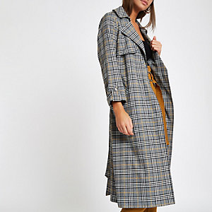 Grey check belted trench coat