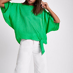 Green stripe jacquard knot side T-shirt