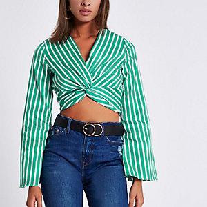 Green stripe long sleeve twist front crop top