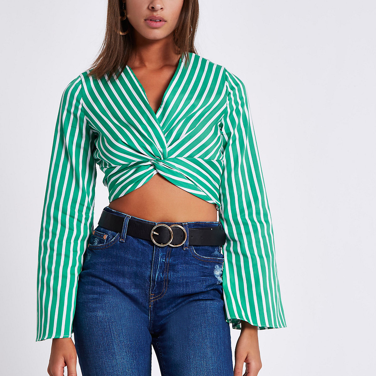 Green stripe long sleeve twist front crop top