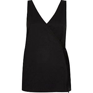 Black wrap front V neck vest top