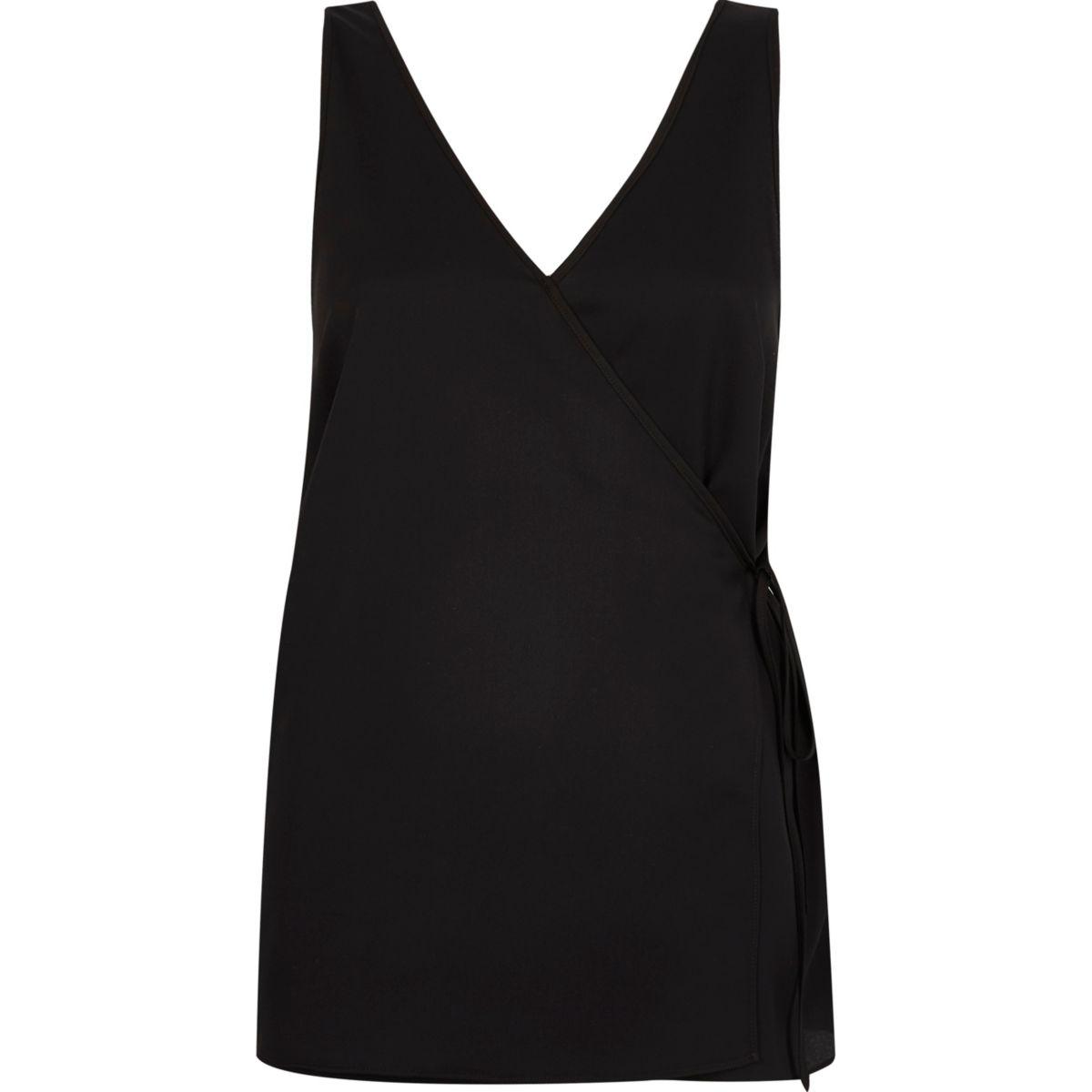 Black wrap front V neck vest top