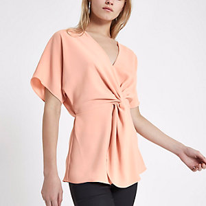 Pink knot front V neck top