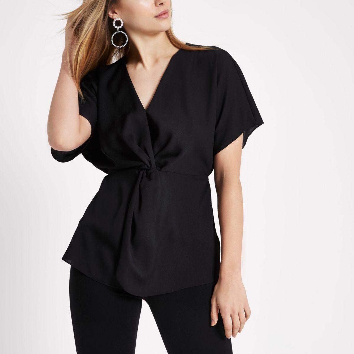 Black twist front tie waist blouse