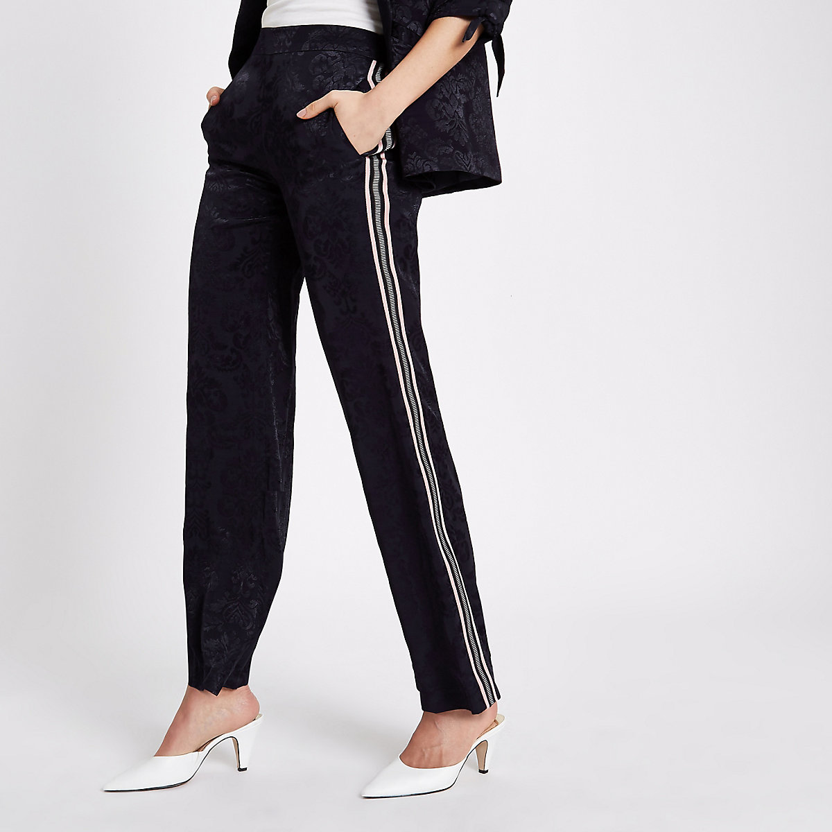 Navy jacquard stripe side pants