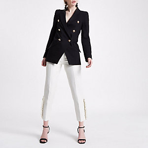 White gold dot pearl frill cigarette trousers