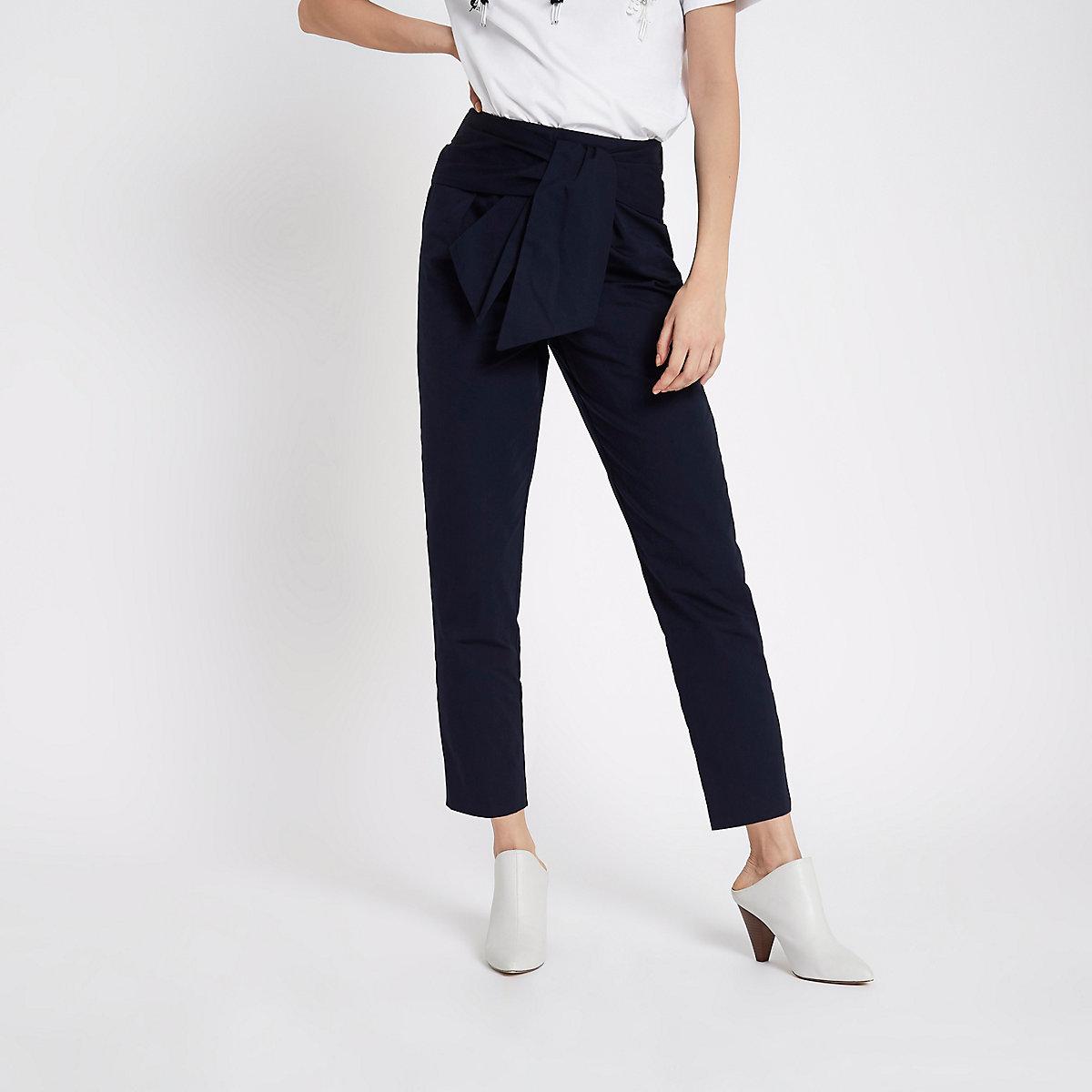 gutes Angebot neuer Stil & Luxus Schnäppchen 2017 Navy tie waist trousers