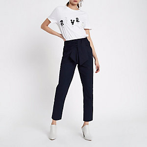 Navy paperbag waist trousers