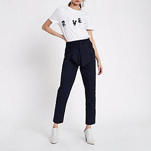 Pantalon bleu marine à taille froncée