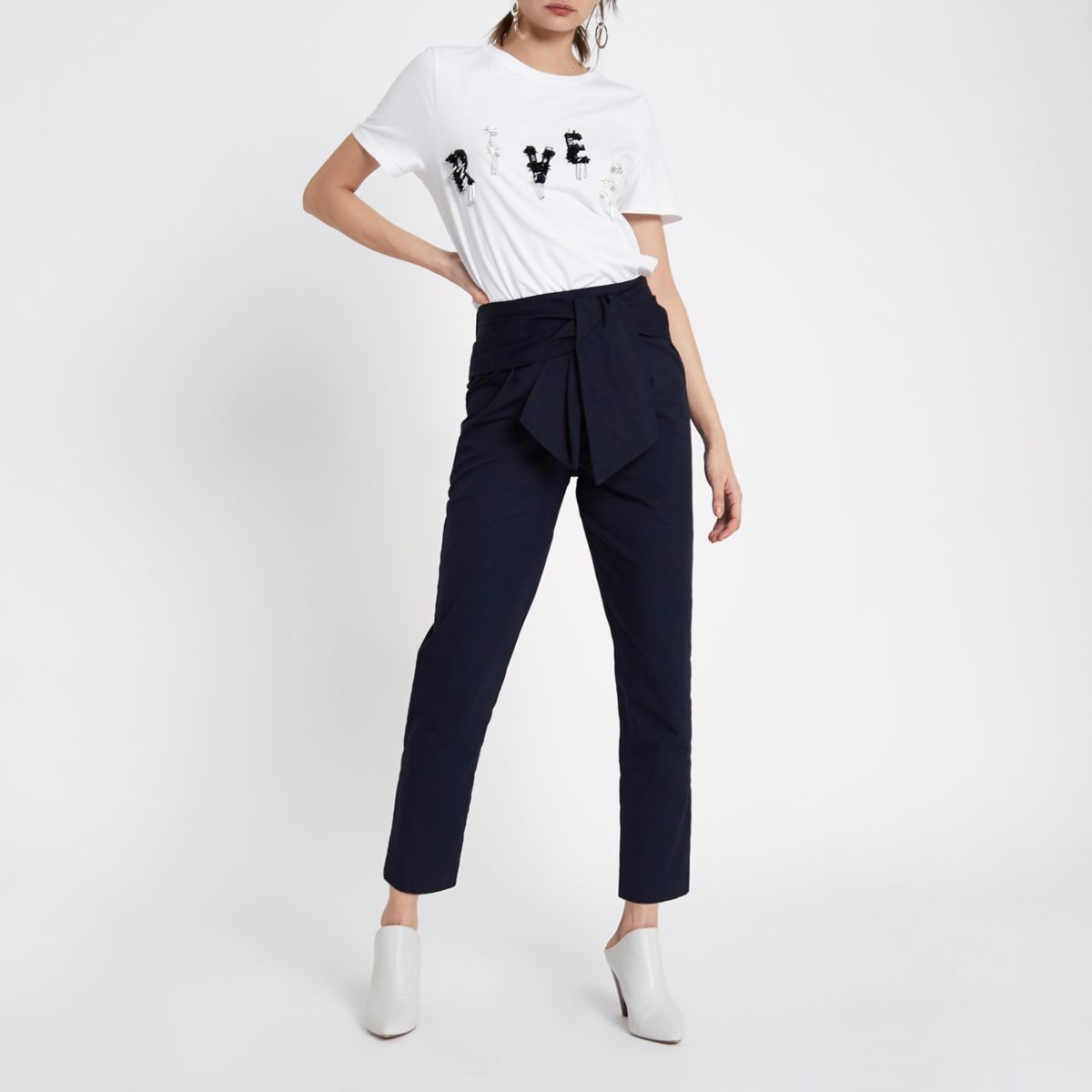 Navy tie waist trousers