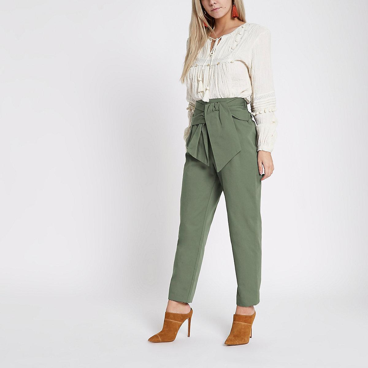 Khaki green tie waist trousers