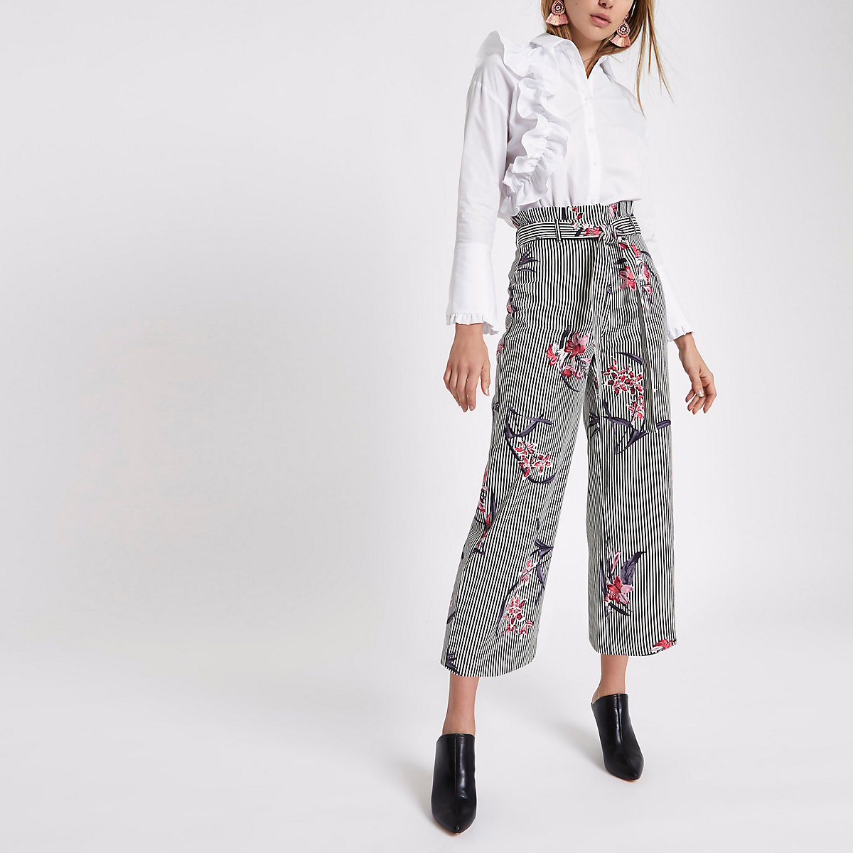 White stripe floral paperbag culottes