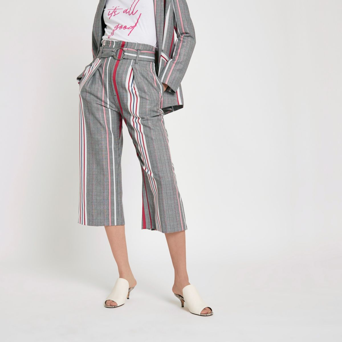 Pink check stripe ring tie belt culottes