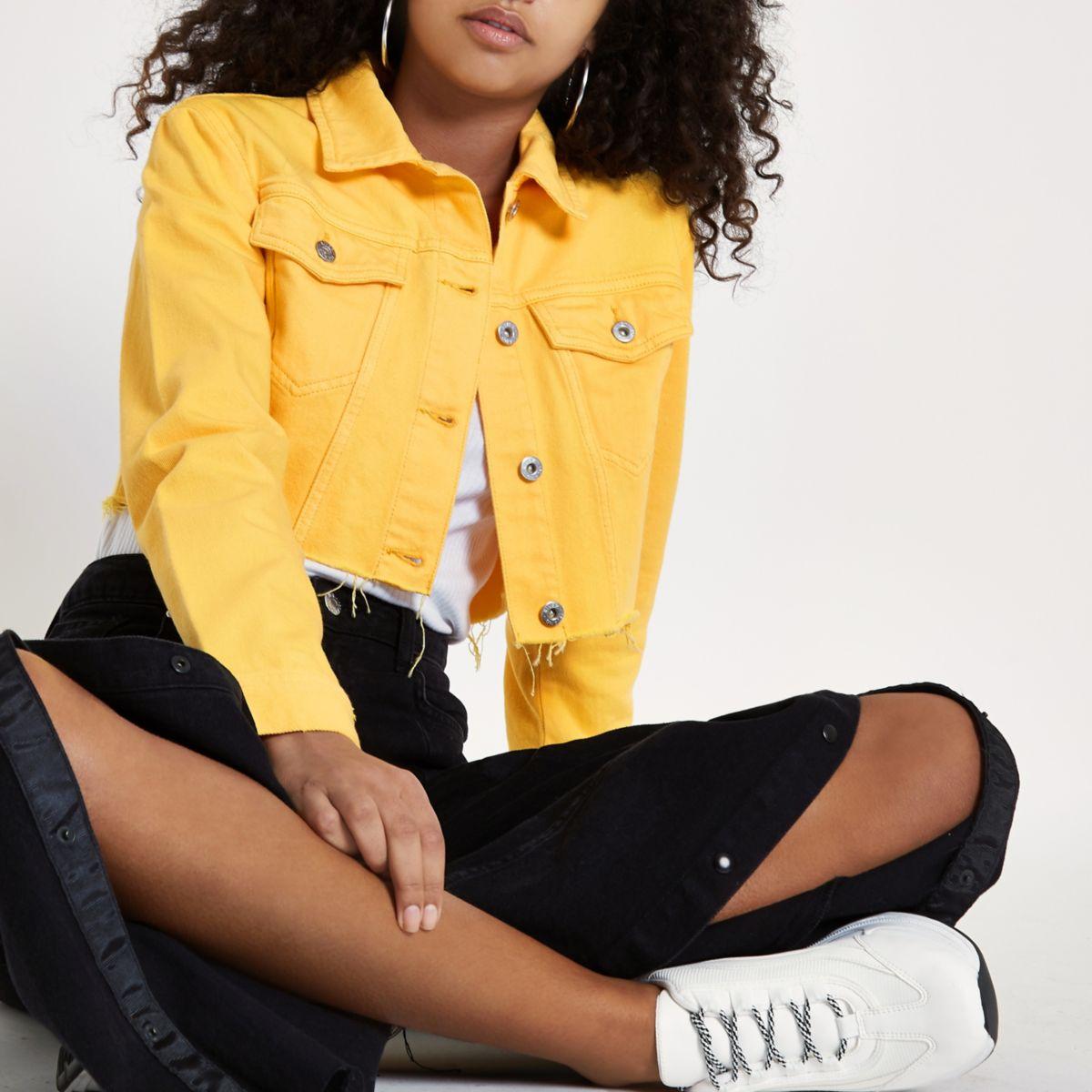 Yellow raw hem cropped denim jacket