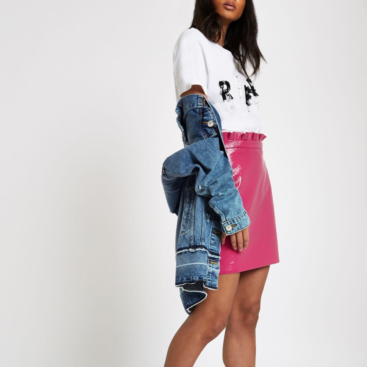 Pink vinyl paperbag mini skirt