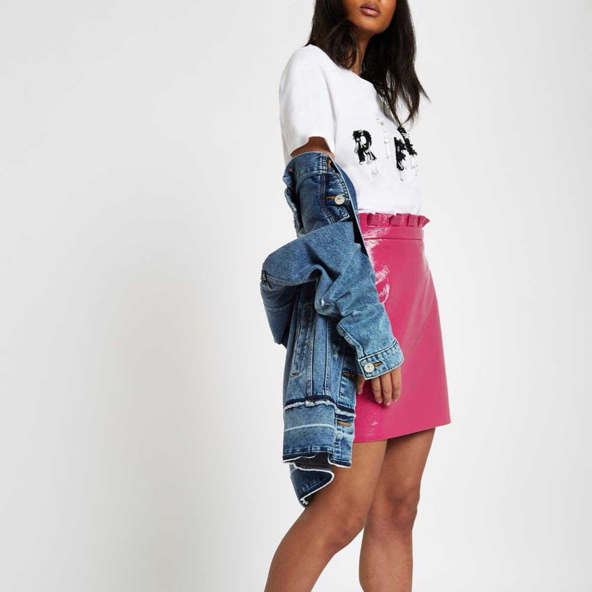 Pink vinyl paperbag mini skirt
