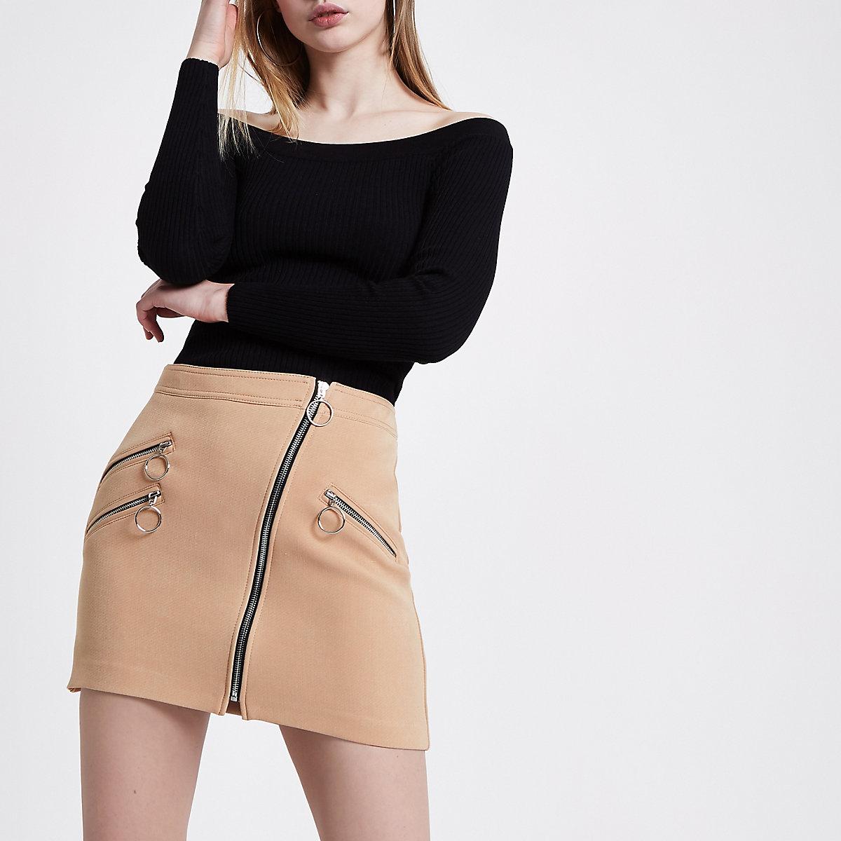 Light brown biker zip mini skirt