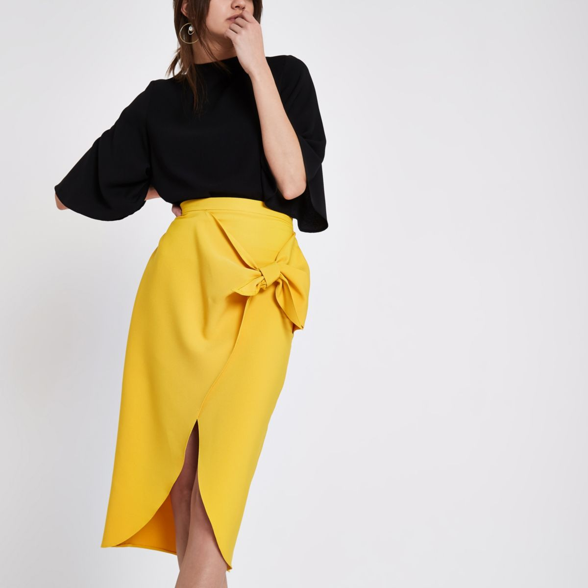 Mustard yellow tie front pencil skirt