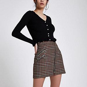 Mini-jupe à carreaux marron zippée