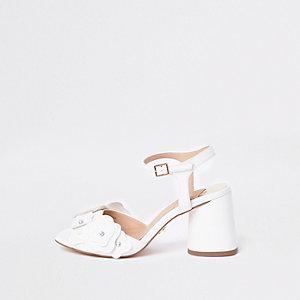 White diamante flower block heel sandals