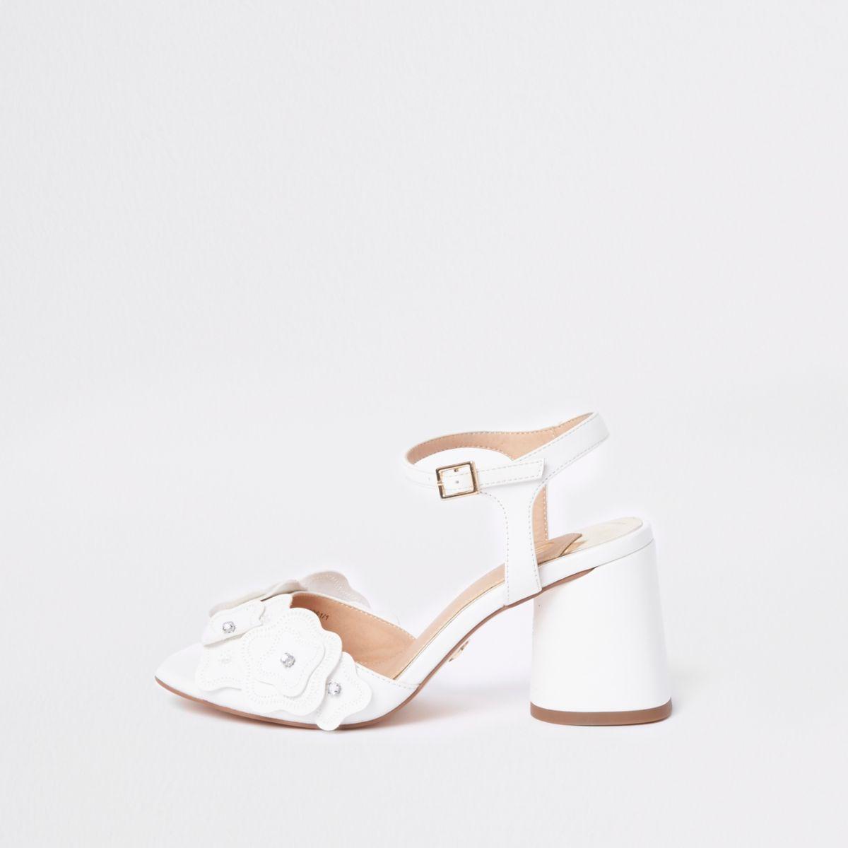 White rhinestone flower block heel sandals