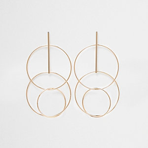 Gold tone interlink circle drop earrings