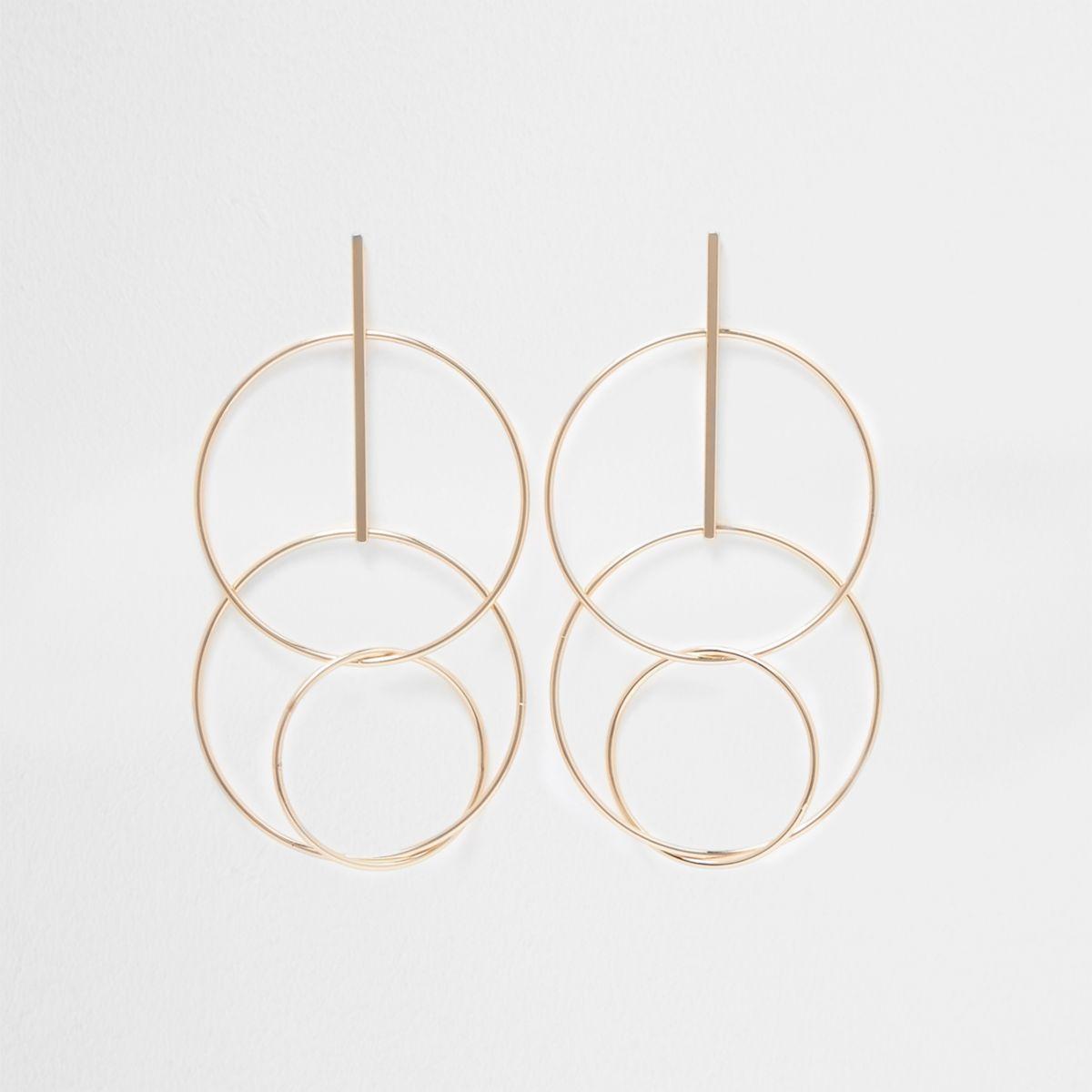 Gold tone interlink circle drop earrings