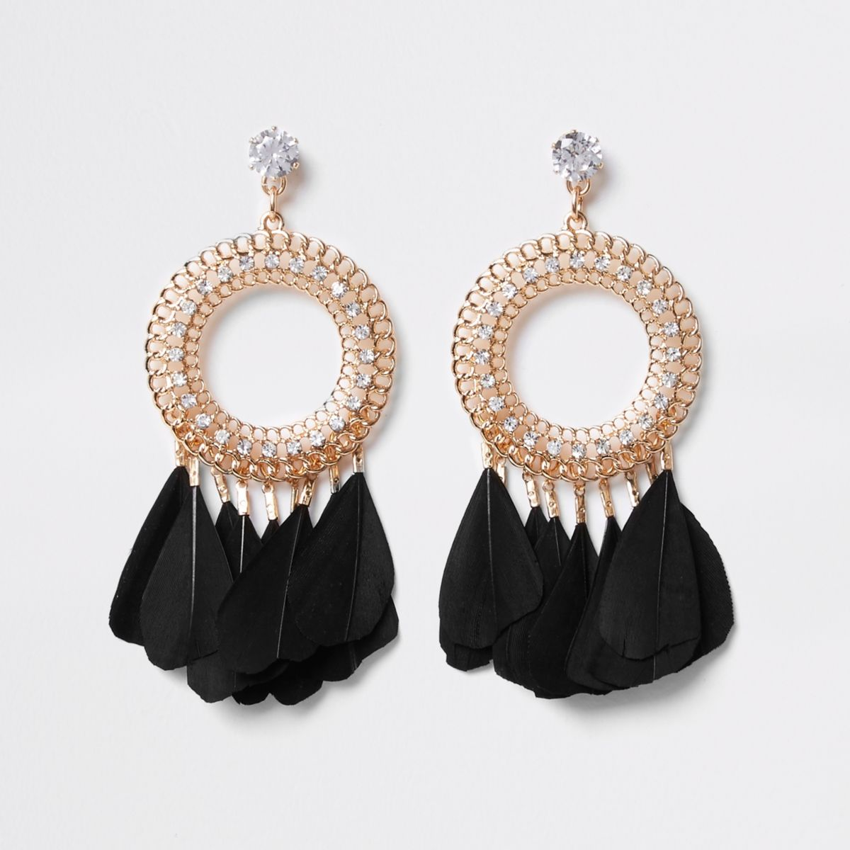Black circle feather drop earrings