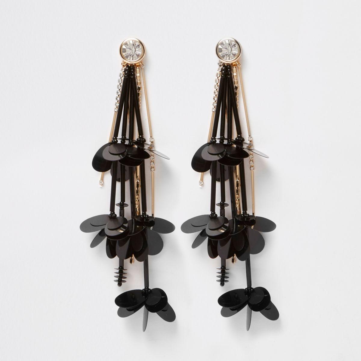 Black flower rhinestone drop earrings