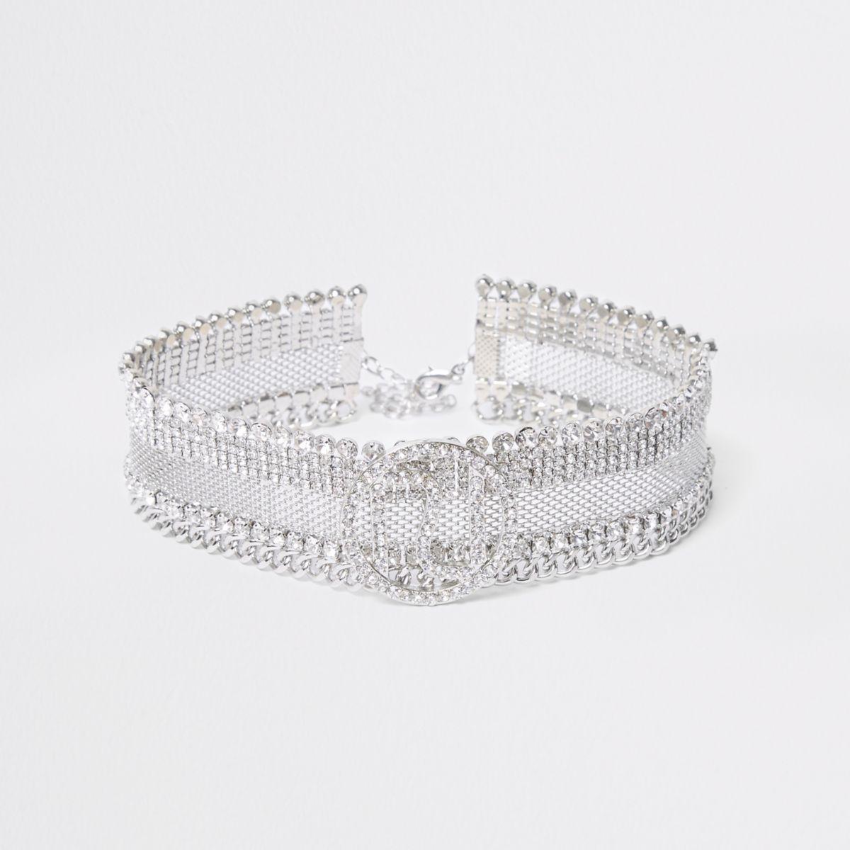 Silver tone diamante RI branded choker