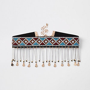 Blue seedbead drop choker