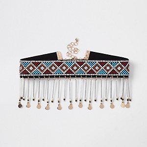 Ras-de-cou à pendentif perle bleue