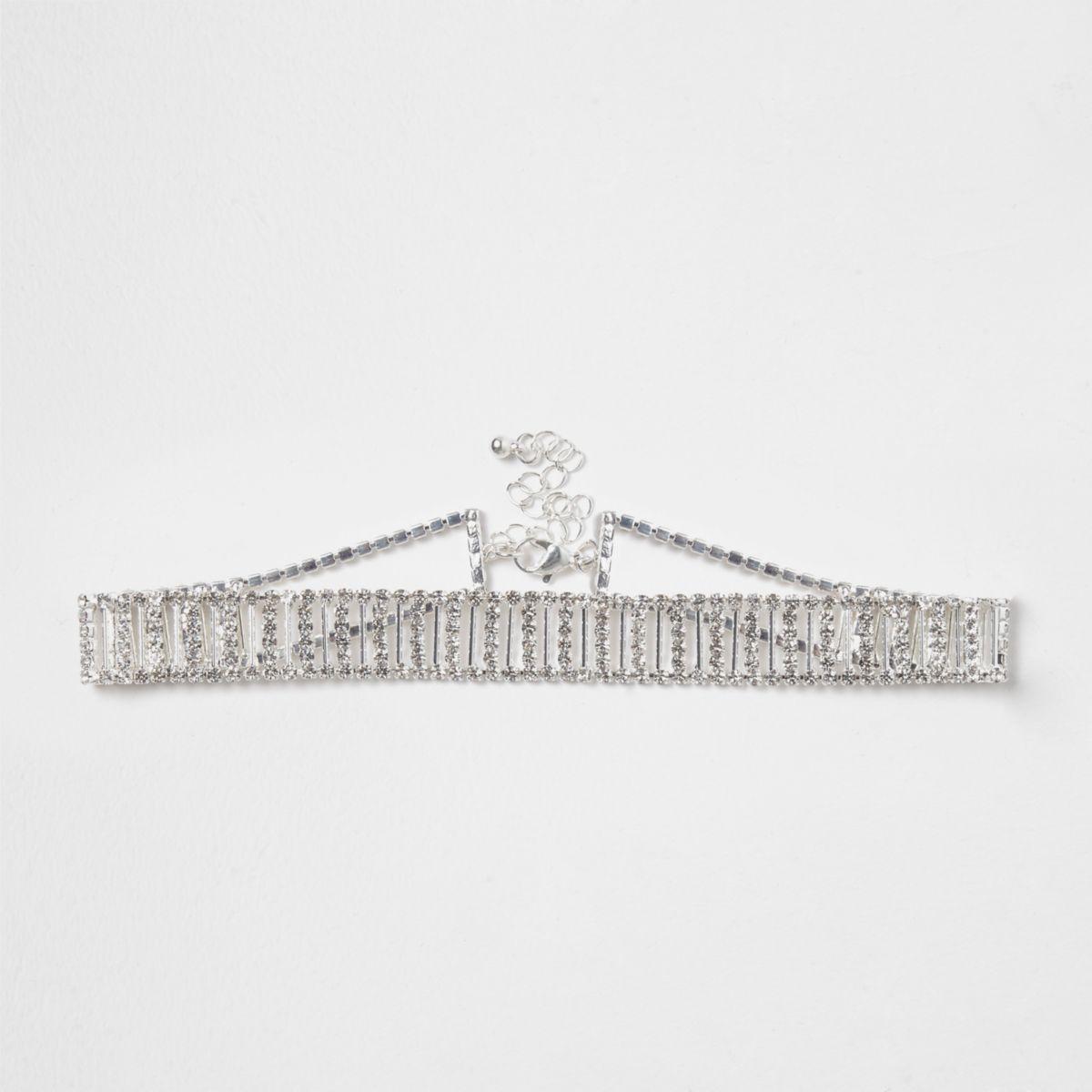 Silver tone diamante bar choker