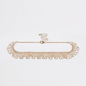 Gold tone frill ball chain choker
